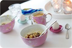 Rice Delicious Eggcups in mint and darkpink www.inreda.com Rice, Tableware, Kitchen, Food, Products, Dinnerware, Cooking, Tablewares, Kitchens