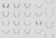 16 Deer antlers vector by Julia Dreams on Creative Market