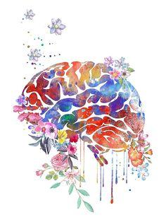 'Brain anatomy, floral brain' by Rosaliartbook Brain Anatomy, Anatomy Art, Brain Tattoo, Brain Illustration, Black Cat Tattoos, Brain Art, Medical Art, Science Art, Abstract Styles