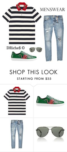 """""""Untitled #641"""" by djrichard ❤ liked on Polyvore featuring Gucci, River Island, Prada Sport, men's fashion and menswear"""