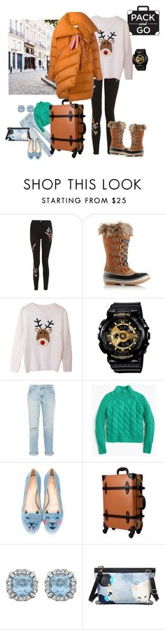 """""""Pack"""" by indiamonds ❤ liked on Polyvore featuring Topshop, SOREL, Casio, Current/Elliott, J.Crew, Charlotte Olympia, Dauphine and Marques'Almeida"""