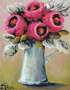 Oil Painting Abstract, Diy Painting, Watercolor Art, Flower Artwork, Art Flowers, Art Nouveau Flowers, Beautiful Paintings, Painting Inspiration, Art Pictures