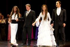 Sarah Brightman, Michael Crawford, Sierra Boggess, and Ramin Karimloo during the curtain call for the 25th anniversary of The Phantom of the Opera