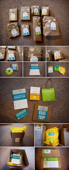 Road trip in a box. I made this for our long road trip with the kids today. They open a new present each hour. Ideas from friends: puzzle & maze books, craft kits, magnetic travel games, mini etch-a-sketches, snacks, new audiobooks or movies, face paint/wigs/mustaches, magnetic paper dolls, window decals, potholder looms, road bingo, lots of drawing stuff, a mixed CD of songs they haven't heard.