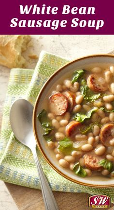 Add extra flavor to this White Bean Sausage Soup with S&W White Chili Beans! Comfort Food | Fall Soup | Easy Soup Recipes | Chicken Sausage