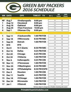 Green Bay Packers 2016 Football Schedule. Print Schedule Here - http://printableteamschedules.com/NFL/greenbaypackersschedule.php