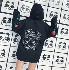 "Japanese Harajuku rose cat printed hooded pullover SE9458   Coupon code ""cutekawaii"" for 10% off"