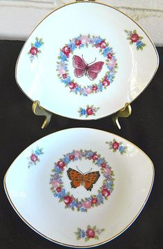 Four Floral Lefton China Oval Snack Dessert Plates Handpainted Butterflies #Lefton