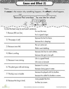 Printables Cause And Effect Worksheet 4th Grade cause and effect comprehension worksheets on identifying effect