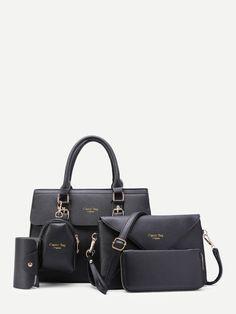 5pcs Faux Textured Leather Bag Set