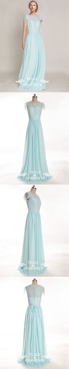 light cyan lace bridesmaid dress with chiffon skirt and cap sleeves