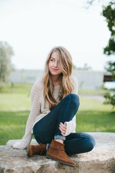 my favorite outfit of the three.  Chelsea of Zipped via minnetonka moccasin blog