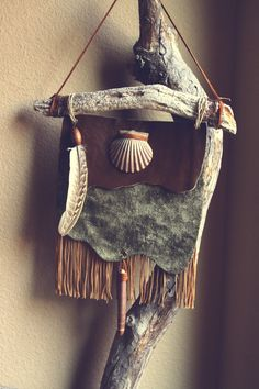 Velvet & leather sea-inspired bohemian wall hanging, by Sirianna #seashell #feather