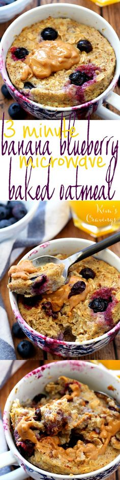 """3 Minute Blueberry Banana Microwave """"Baked"""" Oatmeal in a Mug- a quick, easy and oh so scrumptious gluten-free breakfast!"""