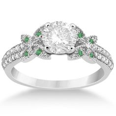 Diamond & Green Emerald Butterfly Engagement Ring Setting Platinum, Women's, Size: 4.5, Silver