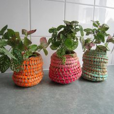 I started weaving with colored raffia and then was encouraged to use flourescent color. I recycle safety work shirts and any bright colored fabrics I can discover. Each basket is raffia based and each pattern and shape is unique. Raffia Crafts, Arts And Crafts, Diy Crafts, Deco, Bird Houses, Indoor Plants, Outdoor Gardens, Cube, Planter Pots