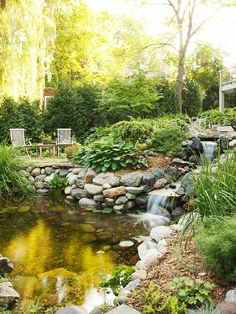 05 awesome backyard ponds and water garden landscaping ideas - HomeSpecially Pond Design, Landscape Design, Garden Design, Landscape Plans, Pond Landscaping, Ponds Backyard, Fish Ponds, Large Backyard, Waterfall Landscaping