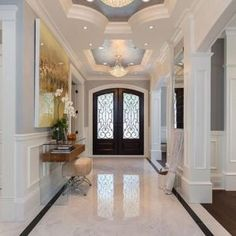 Foyer tile ideas home ideas entryway tile entryway tile ideas modern. Flur Design, Tile Design, Design Design, Modern Entryway, Entryway Decor, Grand Entryway, Entryway Lighting, Marble Foyer, Decoration Hall
