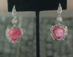 Arunashi 18K White GOld, Diamond, and Watermelon Tourmaline Earrings