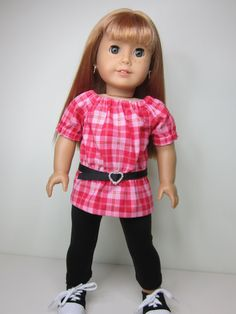 American+girl+doll+clothes+Pink+and+red+plaid+UK+by+JazzyDollDuds,+$17.00