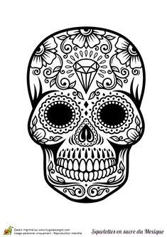 Coloriage crâne en sucre mexicain, diamants - Hugolescargot.com