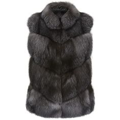 Harrods of London Fox Fur Gilet ($6,365) ❤ liked on Polyvore featuring outerwear, vests, coats, fur, jackets, charcoal vest and fox fur vest