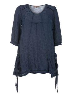 Chiffon-Tunika mit Baumwollanteil von Exelle in Dunkel-Blau.Topmodische Kleidung in großen Größen online bei navabi kaufen.