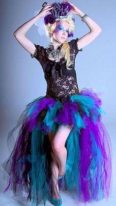 Purple Teal Black Trashy Long Bustle Skirt http://www.infectiousthreads.com/big_mtc_tutu_trashy_long_purp_teal.htm
