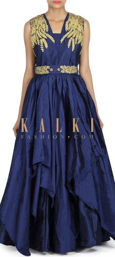 Buy this Navy blue gown adorn in zari embroidered yoke only on Kalki