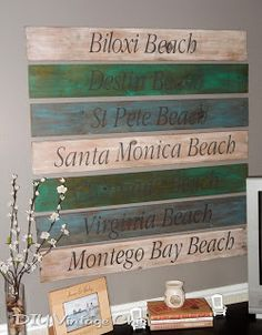 DIY Vintage Chic: Beach Signs update... Do it for different countries been to or places visited to serve with pictures from those places on the ends???