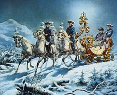 Ludwig II on a night-time sleigh ride. Painting by R. Wenig. From Mad King Ludwig, The Fairy Tale King. www.carolynemerick.com