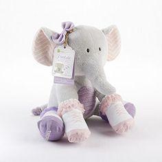"""""""Tootsie in Footsies"""" Plush Elephant and 2 Pair of Socks for Baby #babyaspen #plushgifts http://timelesstreasure.theaspenshops.com/tootsie-plush-elephant-socks.html"""