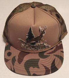 Leaping Deer Trucker Hat Camo Outdoors Hunting Grass Snow Pine Tree #DesignerAwardHeadwear #Trucker