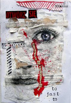 ⌼ Artistic Assemblages ⌼ Mixed Media & Collage Art - Collaged Face for Journal