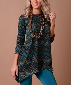 This Teal & Brown Zigzag Sidetail Tunic is perfect! #zulilyfinds