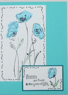 Aqua Flowers with Doodling by Hawkeye Stamper - Cards and Paper Crafts at Splitcoaststampers