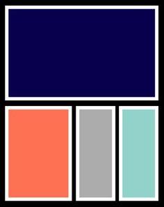 Navy, coral, grey, aqua.