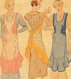 ~Vintage 1930's Full Size Apron Sewing Pattern With Flounce & Appliques L ~