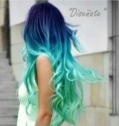 Set of 4 - Blue Hair Chalk - Premium Salon Grade - Mermaid Hair Chalk - Temporary Color Pastels from liltutuprincess on Etsy. Hair Dye Colors, Ombre Hair Color, Cool Hair Color, Amazing Hair Color, Vivid Hair Color, Ombre Style, Neon Style, Bright Hair Colors, Blue Style