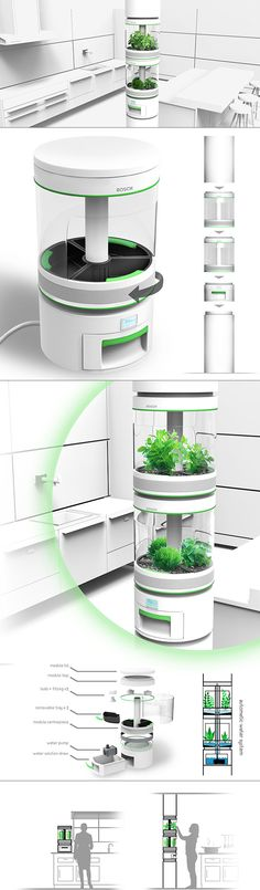 Personal Hydroponics   Inspired by larger vertical farming systems, Stem is an indoor modular appliance used for growing small plants. It enables users to grow herbs and vegetables easily and efficiently with an automated hydroponic system, automatically watering plants on a timed cycle with little maintenance. Modular sections can be added or taken away to accommodate any space or need. Not only green in theory, it's also produced with environmentally friendly materials including Zeoform!
