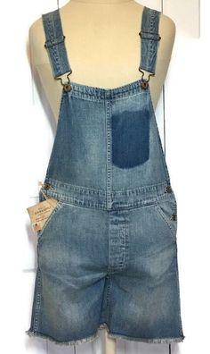 Ralph Lauren Bib Overalls Shortalls Distressed Vintage Inspired Button Fly XS   #RalphLaurenDenimSupply #Shortalls