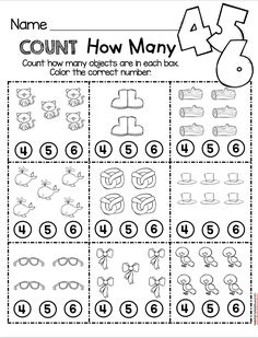 Count How Many math worksheet - easy NO PREP activity for kindergarten math - counting and cardinality common core unit - FREE printables and worksheets