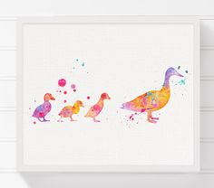Duckling Art Print, Duckling Nursery Art, Nursery Wall Decor, Baby Girl Nursery, Girls Room Decor, Watercolor Duck, Duck Painting