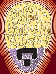 Frank Zappa: Psychedelic Concert Poster (with Gentle Giant & King Crimson) Cybill Shepherd, Anne Bancroft, King Crimson, Charlie Watts, Carole King, Chris Wood, Batman Returns, American Psycho, Rock Posters