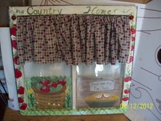 My hand painted apple theme old wooden window after I added the vintage apple fabric valance to it for a customer & also added little apples to each valance corner