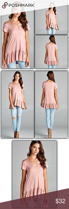 """Criss Cross Ruffle Hem Dusty Rose Tunic Top SML Perfect & so pretty crisscross tunic top featuring ruffle hem. Super soft, stretchy & flowy. Very flattering fit. Made in USA 95% rayon - 5% spandex dusty rose mauve blush  Small 2/4/6 Bust 32-36"""" Length 29.5"""" Medium 8/10 Bust 36-38"""" Length 30"""" Large 12/14 Bust 40-42"""" Length 30.5"""" Tops"""