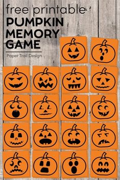 Halloween Pumpkin Memory Game For Kids | Paper Trail Design