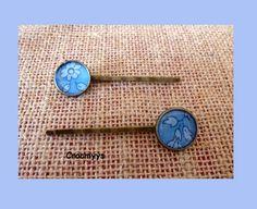 Barrettes rétros liberty capel bleu : Accessoires coiffure par crocmyys