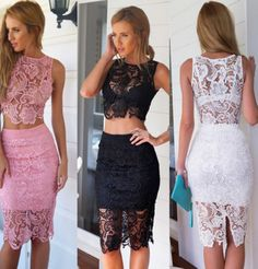 Modern pink lace summer dress for the modern woman Lovely design offers a trendy stylish look Great for any occasion Made from high quality material Available in 3 colors Lace Summer Dresses, Summer Dresses For Women, Sexy Dresses, Dress Outfits, Fashion Dresses, Dress Lace, Lace Wrap, Two Piece Dress, Pink Lace