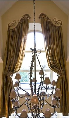 Our Innovative Drapery Hardware including hold backs, scrolls and crowns are designed to accentuate your window treatments and enhance the overall appearance of your drapes and curtains. If you desire to achieve a designer's look, our crystal drapery hard Curtains For Arched Windows, Curtains And Draperies, Window Drapes, Drapes Curtains, Valances, Arched Window Treatments, Window Coverings, Custom Window Treatments, Curtain Designs